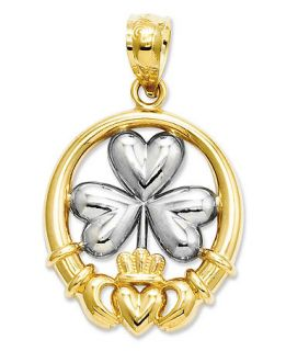 14k Gold and Sterling Silver Charm, Claddagh and Shamrock Charm   Jewelry & Watches