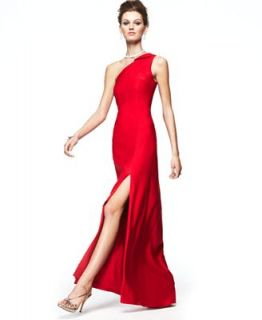 Fashion Star Dress, One Shoulder Asymmetrical Evening Gown Red   Dresses   Women