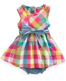 GUESS Baby Dress, Baby Girls Newborn Sleeveless Plaid Dress   Kids
