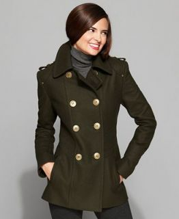 Kenneth Cole Reaction Coat, Double Breasted Military Peacoat   Coats   Women