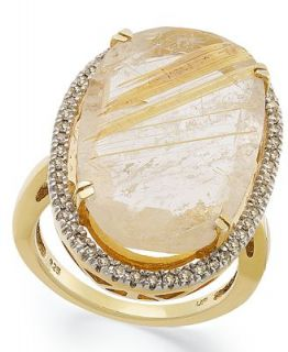 14k Gold over Sterling Silver Ring, Golden Rutilated Quartz (12 3/8 ct. t.w.) and Diamond (1/4 ct. t.w.) Ring   Rings   Jewelry & Watches