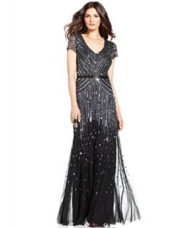 Adrianna Papell Cap Sleeve Beaded Sequined Gown   Dresses   Women