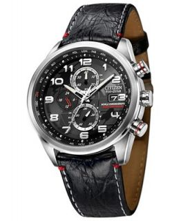 Citizen Mens Eco Drive World Chronograph A T Black Leather Strap Watch 43mm AT8030 18F   Limited Edition   Watches   Jewelry & Watches