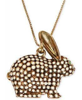 Lucky Brand Gold Tone White Bead Rabbit Pendant Necklace   Fashion Jewelry   Jewelry & Watches