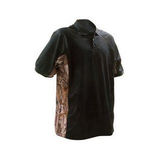 BUCK HORN RIVER X Large Pique Polo Shirt with Camo Trim Black BRKS 52159BXL