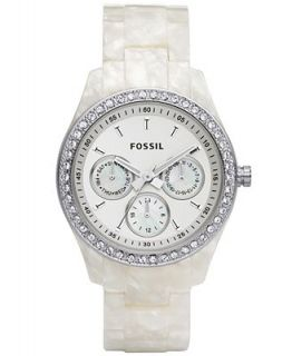 Fossil Womens Stella White Pearlized Plastic Bracelet Watch 37mm ES2790   Watches   Jewelry & Watches
