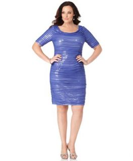 Adrianna Papell Plus Size Dress, Short Sleeve Ruched Sequined   Dresses   Plus Sizes