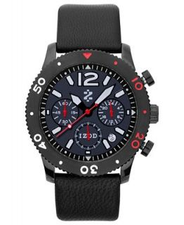 Izod Watch, Unisex Chronograph Black Leather Strap 42mm IZS6 4 BLACK RED   Watches   Jewelry & Watches