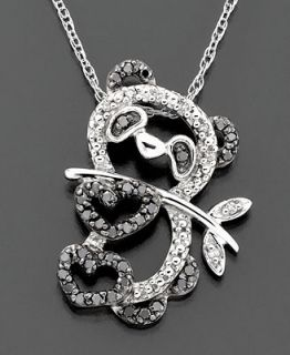 Diamond Necklace, 14k White Gold Black Diamond Panda Pendant (1/5 ct. tw.)   Necklaces   Jewelry & Watches