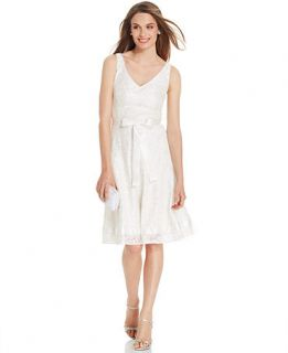 Tahari by ASL Sleeveless Belted Lace Dress   Dresses   Women