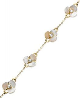 kate spade new york Bracelet, Gold Tone Cream Disco Pansy Flower Thin Bangle Bracelet   Fashion Jewelry   Jewelry & Watches