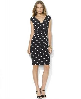 Lauren Ralph Petite Lauren Dress, Cap Sleeve Polka Dot Jersey   Dresses   Women