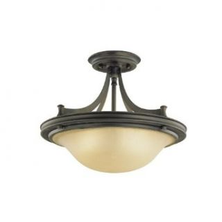 Murray Feiss SF195ORB Pub 3 Light Wrought Iron Semi Flush Ceiling Fixture, Oil Rubbed Bronze   Ceiling Pendant Fixtures