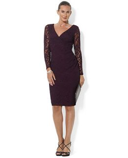 Lauren Ralph Lauren Petite Long Sleeve Surplice Neck Jersey Dress   Dresses   Women