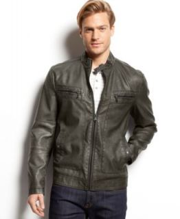 Kenneth Cole Reaction Perforated Pleather Jacket   Coats & Jackets   Men