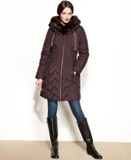 Tahari Hooded Faux Fur Trim Quilted Puffer Coat   Coats   Women