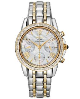 Seiko Watch, Womens Chronograph Solar Diamond Accent Two Tone Stainless Steel Bracelet 36mm SSC892   Watches   Jewelry & Watches