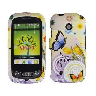 Spring Purple Orange Butterfly Flower Rubberized Snap on Hard Plastic Cover Faceplate Case for Verizon LG Cosmos Touch VN270 + Screen Protector Film Cell Phones & Accessories