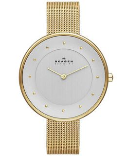 Skagen Denmark Womens Gitte Gold Tone Stainless Steel Mesh Bracelet Watch 38mm SKW2141   Watches   Jewelry & Watches