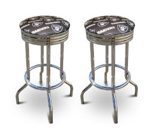 2 MAN CAVE Oakland Raiders Football themed 29'' Specialty Chrome Barstools Ba  Home Bars