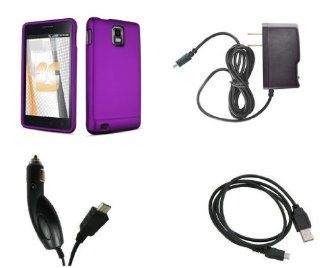 Samsung Infuse 4G   SGH i997   (AT&T) Premium Combo Pack   Purple Rubberized Shield Hard Case Cover + Atom LED Keychain Light + Wall Charger + Car Charger + Micro USB Data Cable Cell Phones & Accessories