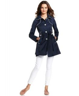 Jessica Simpson Coat, Hooded Belted Piped Trench   Coats   Women