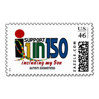 I Support 1 In 150 & My Son AUTISM AWARENESS Stamp