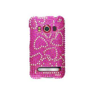 HTC EVO 4G Bling Gem Jeweled Jewel Crystal Diamond Hot Pink Hearts Cover Case Cell Phones & Accessories