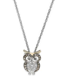 Brown and White Diamond Owl Pendant Necklace in Sterling Silver and 14k Gold (1/6 ct. t.w.)   Necklaces   Jewelry & Watches