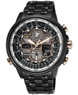 Citizen Mens Eco Drive Navihawk A T Black Ion Plated Stainless Steel Bracelet Watch 46mm JY8035 55E   A Exclusive   Watches   Jewelry & Watches