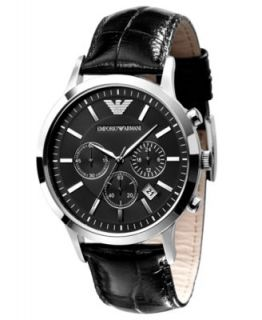 Emporio Armani Watch, Mens Chronograph Black Leather Strap AR2432   Watches   Jewelry & Watches