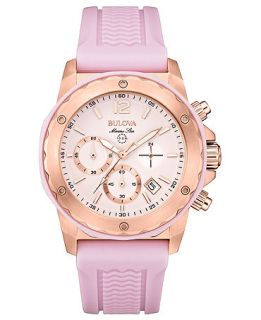 Bulova Womens Chronograph Marine Star Pink Silicone Strap Watch 36mm 98M118   Watches   Jewelry & Watches