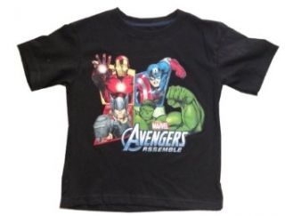 AVENGERS   Marvel Avengers Assemble   Captain America, Hulk, Thor, Iron Man   Captain America, Hulk, Iron Man   Adorable Black Toddler / Youth T shirt   size 7T Clothing
