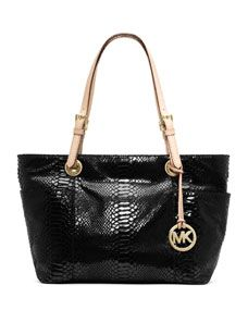 MICHAEL Michael Kors Jet Set Zip Top Tote, Black Embossed Python