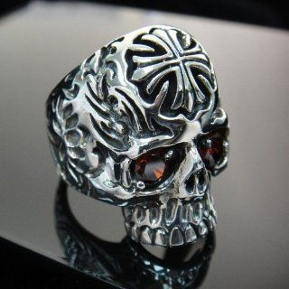 The Biker Metal 925 Sterling Silver Skull Ring w Red CZ for Harley Rider Motor Biker SR 08 Sports & Outdoors