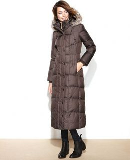 London Fog Hooded Faux Fur Trim Maxi Puffer Coat   Coats   Women