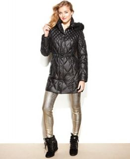 GUESS Coat, Hooded Faux Fur Trim Quilted Puffer   Coats   Women