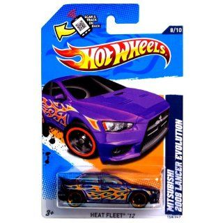 Hot Wheels 2012 Heat Fleet '12 8/10 Mitsubishi 2008 Lancer Evolution 158/247 Purple with Orange and Silver Flames on Scan & Track Card Toys & Games