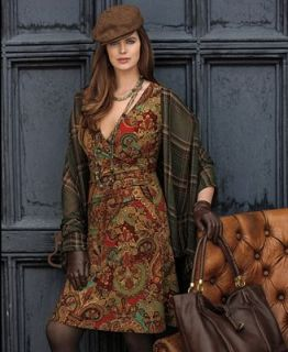 Lauren Ralph Lauren Plus Size Cap Sleeve Paisley Print Faux Wrap Jersey Dress   Dresses   Plus Sizes