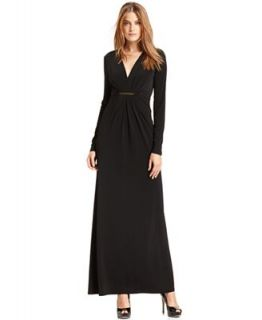 MICHAEL Michael Kors Long Sleeve V Neck Maxi Dress   Dresses   Women