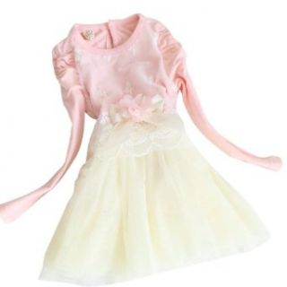 CM CG Baby Girl Bubble Sleeve Solid Floral Mesh Pleated Layered Patchwork Dress 1 5Y Clothing
