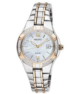 Seiko Watch, Womens Solar Diamond Accent Two Tone Stainless Steel Bracelet 27mm SUT068   Watches   Jewelry & Watches