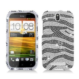 Aimo Wireless HTCONESVPCDI152 Bling Brilliance Premium Grade Diamond Case for HTC One SV   Retail Packaging   Black/White Zebra Cell Phones & Accessories