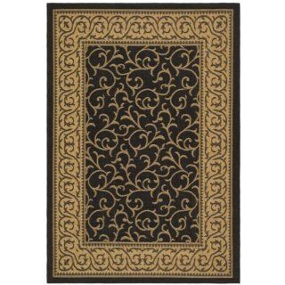 Safavieh Courtyard Collection CY6014 46 Black and Natural Indoor/ Outdoor Area Rug, 6 Feet 7 Inch by 9 Feet 6 Inch