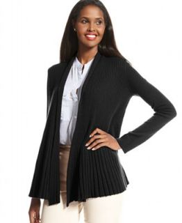 Charter Club Petite Sweater, Long Sleeve Ribbed Open Front Cashmere Cardigan   Sweaters   Women