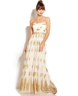 Blondie Nites Juniors Strapless Glittered Gown   Juniors Dresses