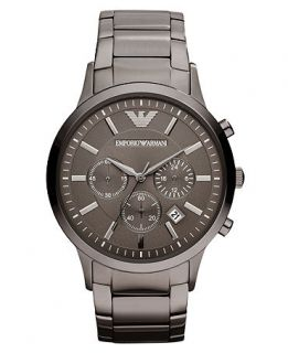 Emporio Armani Watch, Chronograph Gunmetal Tone Stainless Steel Bracelet 43mm AR2454   Watches   Jewelry & Watches