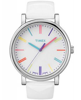 Timex Watch, Womens Premium Originals Classic White Patent Leather Strap 38mm T2N791AB   Watches   Jewelry & Watches