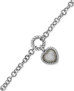 Balissima by EFFY Diamond Heart Charm Bracelet (1/5 ct. t.w.) in Sterling Silver and 18k Gold   Bracelets   Jewelry & Watches