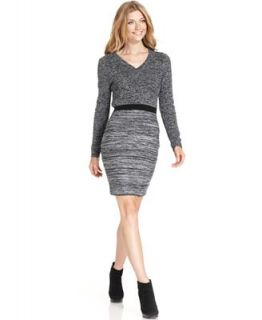 Calvin Klein Dress, Long Sleeve V Neck Sweater Dress   Dresses   Women